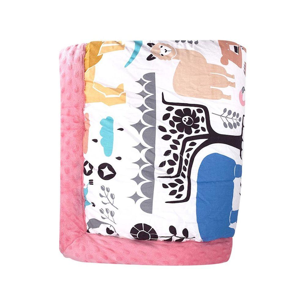 JoyNa - 加厚款-多功能被套毯 兒童棉被-粉色動物世界-加厚款 (110*140cm)