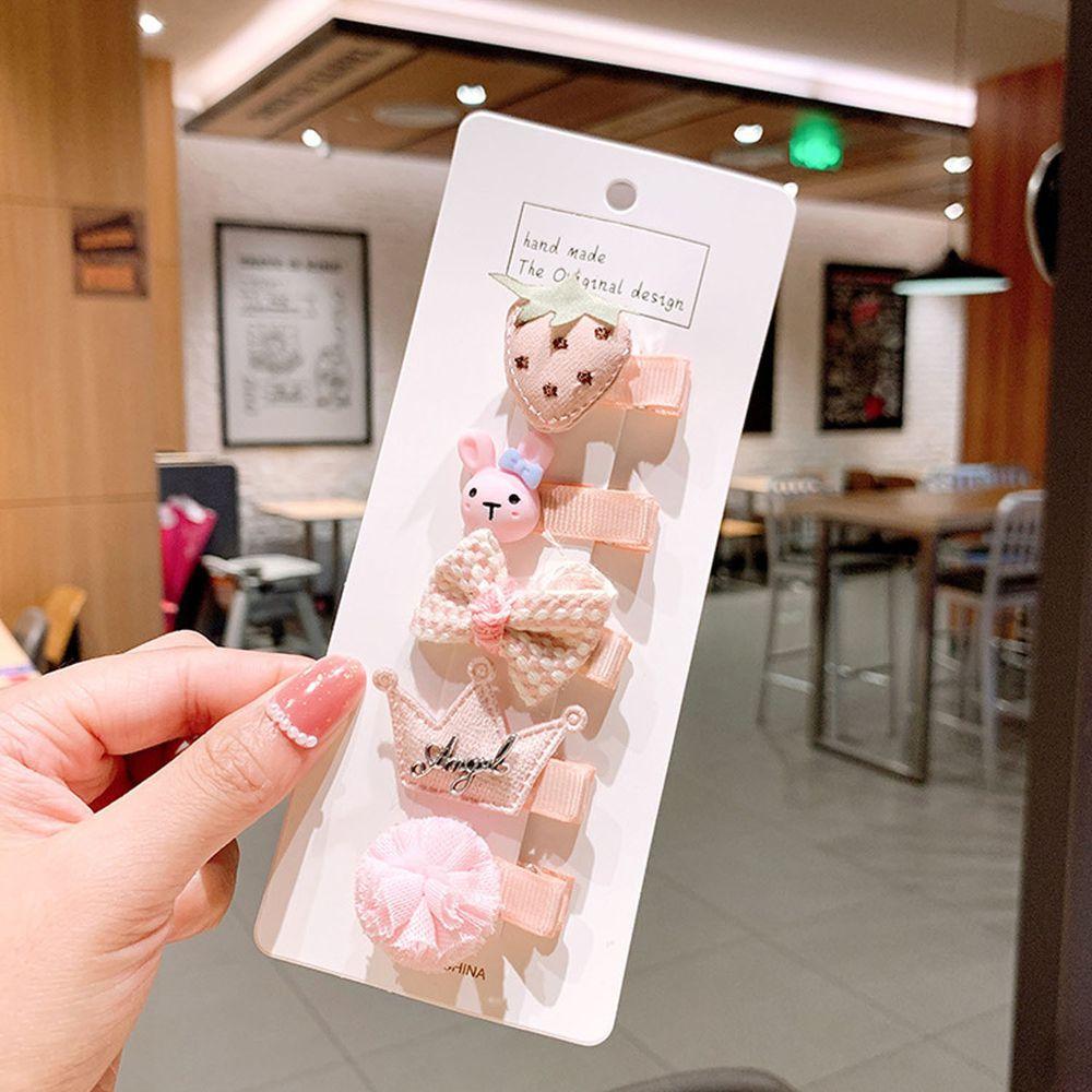 粉嫩色系寶寶髮夾5件組-粉色皇冠