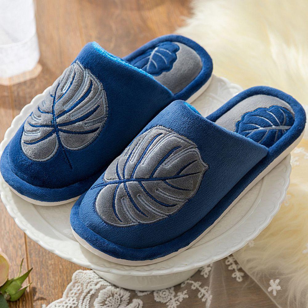 防滑保暖棉拖鞋-藍葉