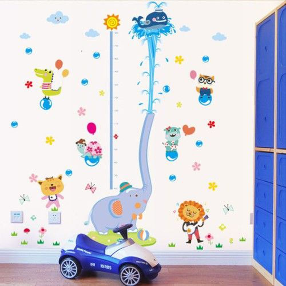 JB Design - 時尚壁貼-小象噴水身高貼 (60cm*90cm)