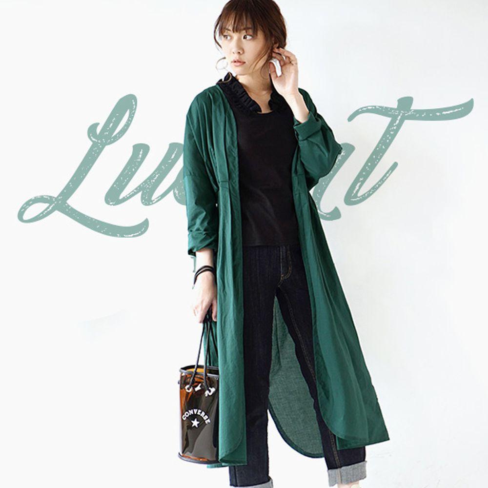 日本 zootie - 純印度棉長版綁帶罩衫/外套-青草綠 (F)
