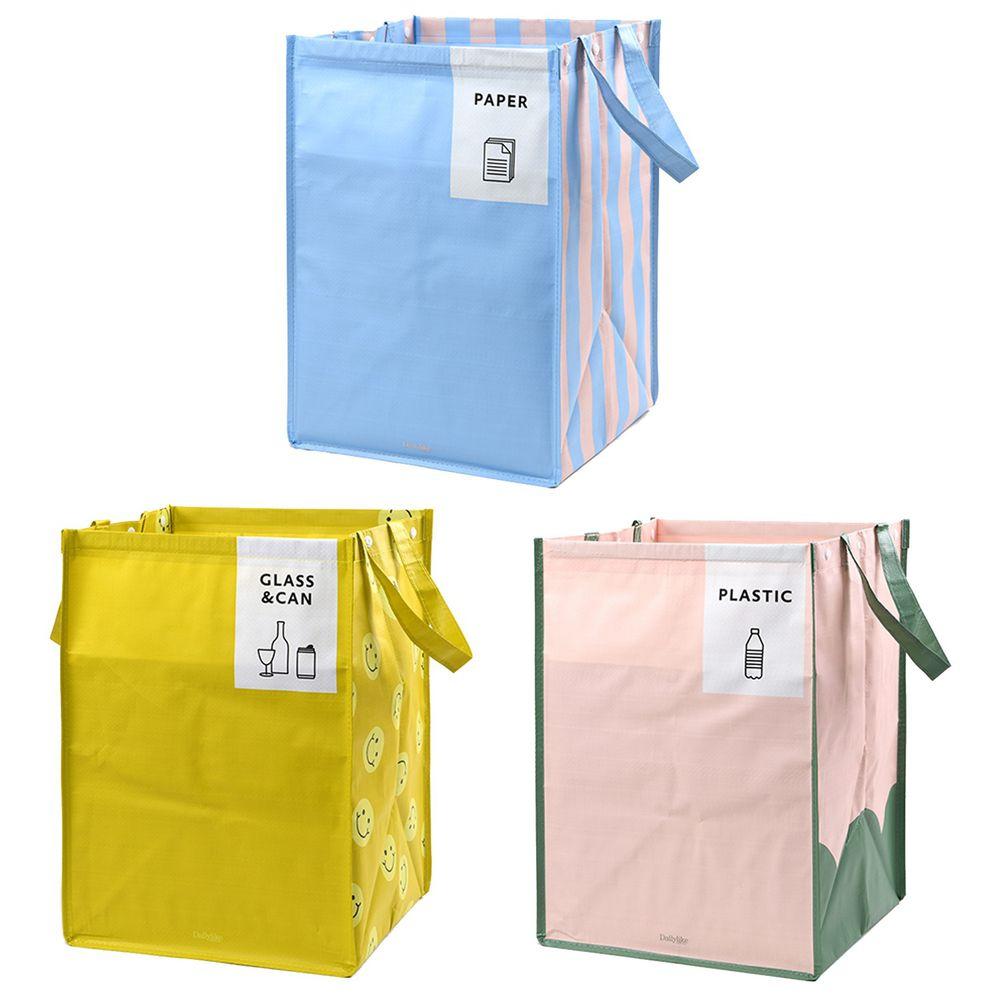 韓國 Daily Like - 組合式衣物/玩具收納袋(3入)-笑臉X條紋X山丘
