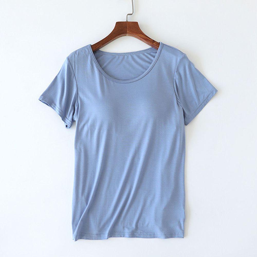莫代爾柔軟涼感Bra T-藍色