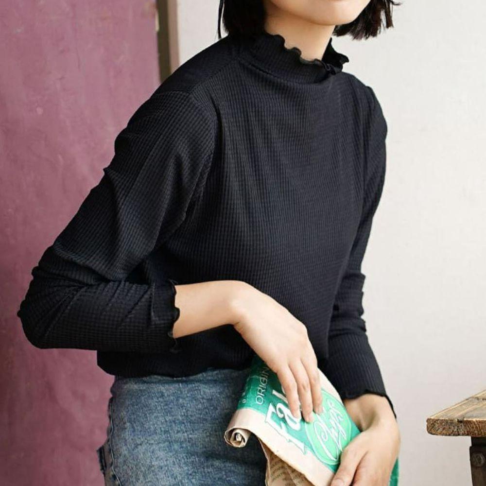 日本 zootie - 透明立體格子紋木耳邊透膚輕薄長袖上衣-黑