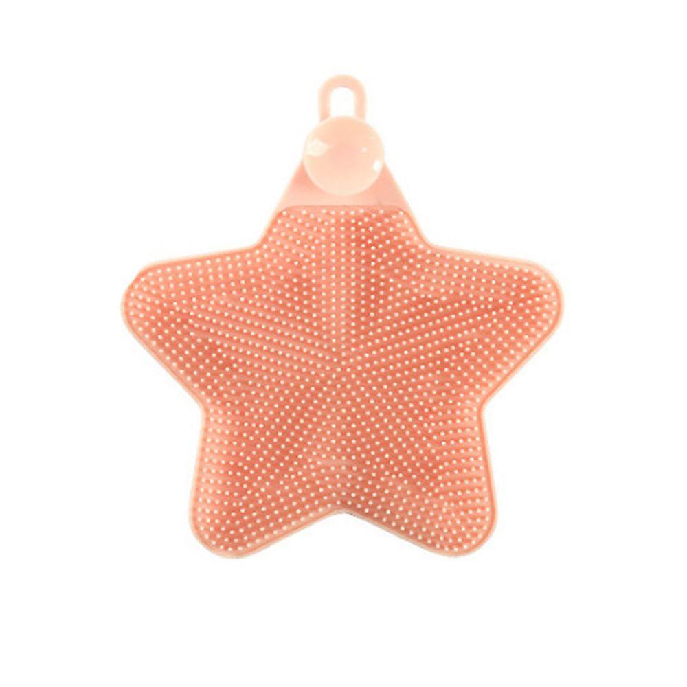 溫柔去污矽膠清潔刷-星星-橘粉色