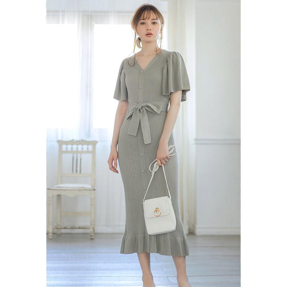 日本 GRL - 浪漫大荷葉袖針織修身洋裝-莫蘭迪綠