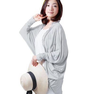 修飾身材涼感抗UV薄外套(附收納袋)-灰 (F)