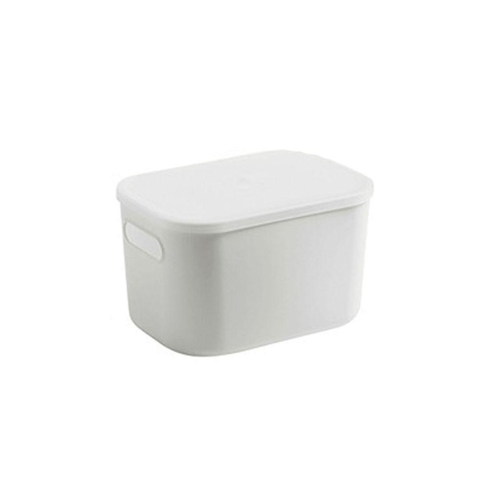 日系簡約白色收納盒-加高款小號(26x18.5x16.5cm)-有把手