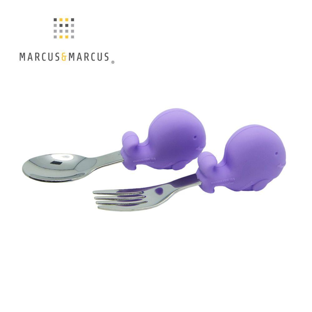 MARCUS&MARCUS - 動物樂園寶寶手握訓練叉匙-紫鯨魚