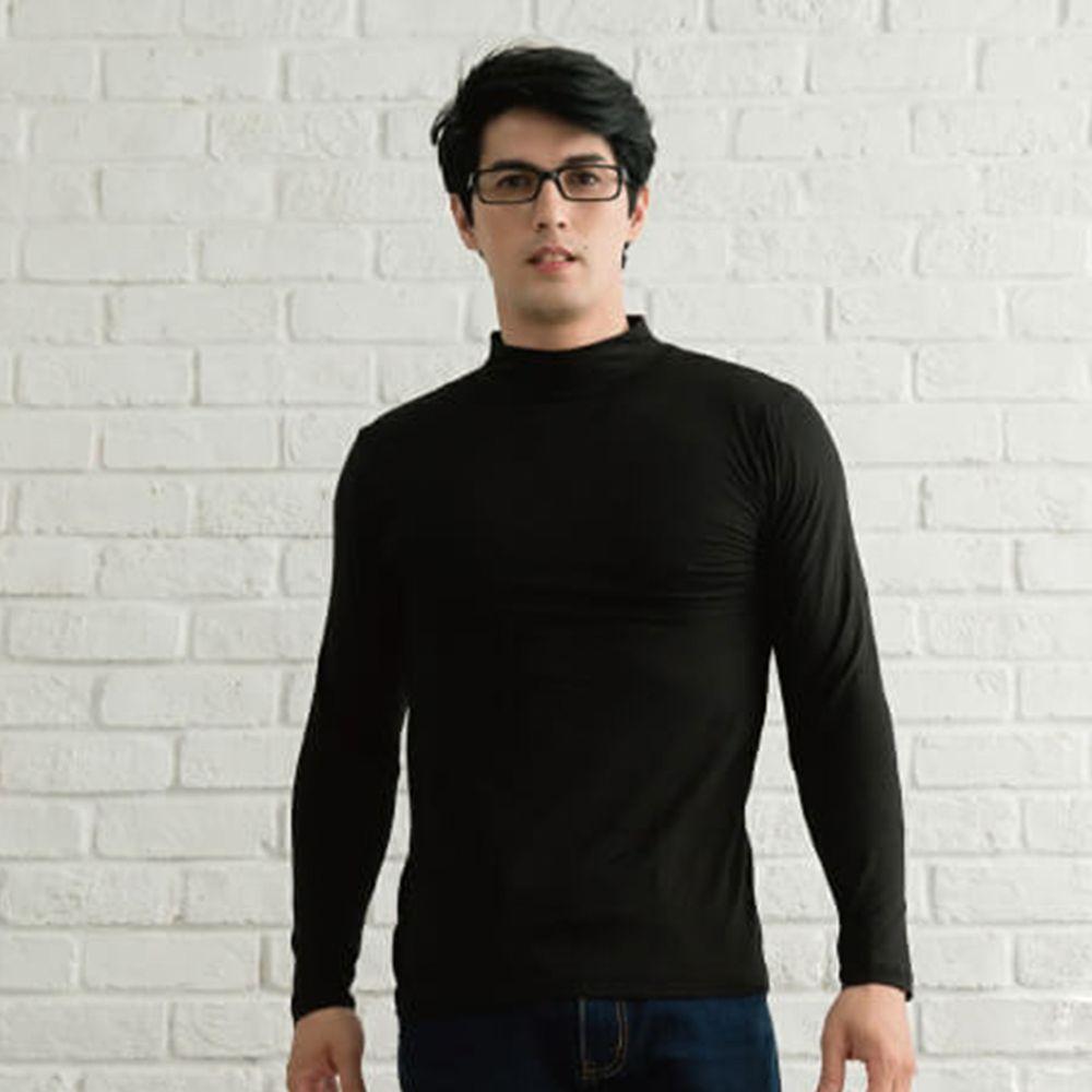 貝柔 Peilou - TENCEL日本吸濕發熱纖維保暖衣-男半高領-黑色