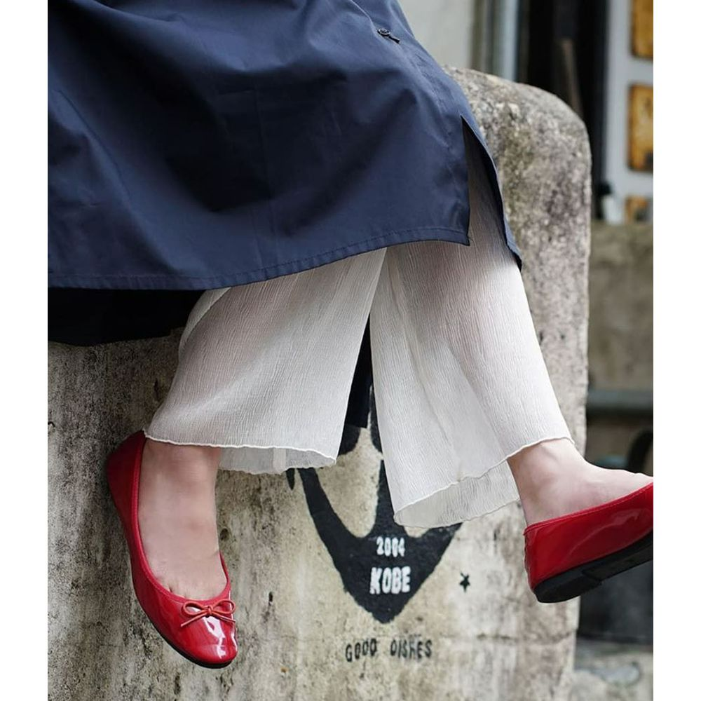 日本 zootie - 時尚透膚層次感穿搭內搭寬版長褲-木耳抓皺-杏