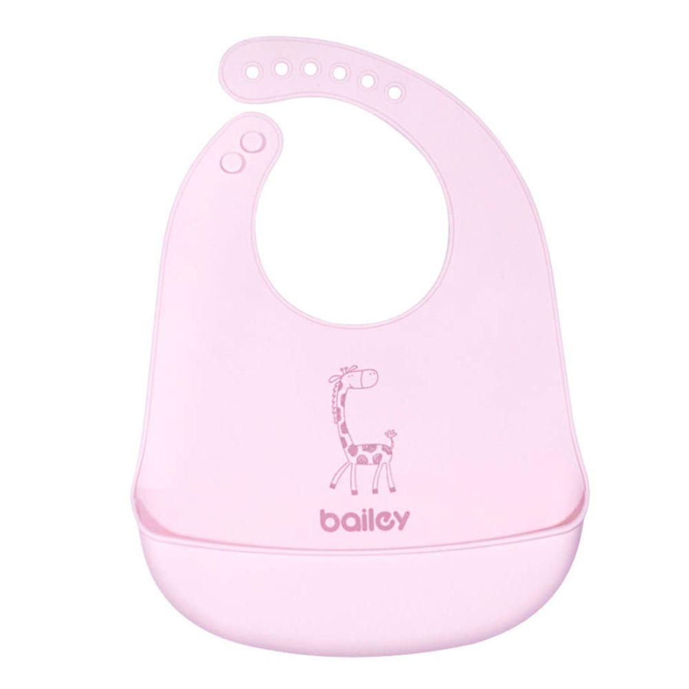 韓國 BAILEY 貝睿 - 矽膠圍兜-立體圍兜-粉紅