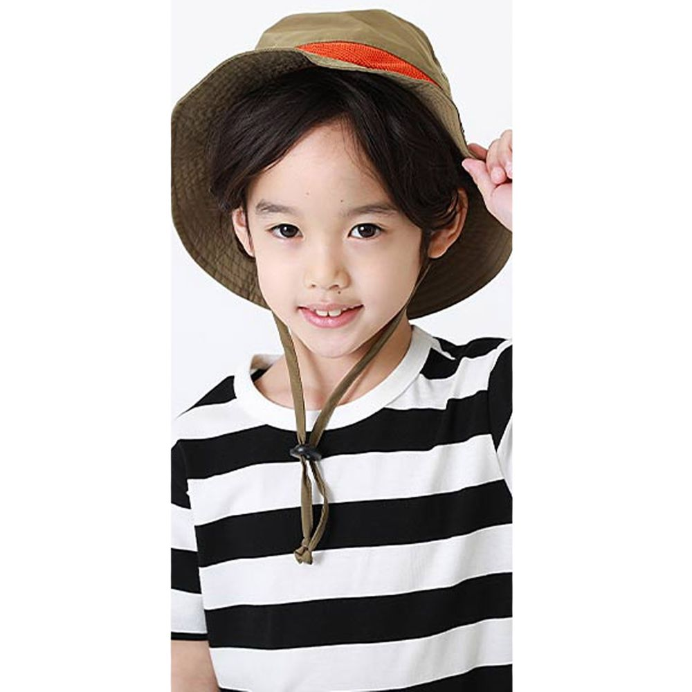 日本 devirock - 撥水加工抗UV可收納透氣兒童遮陽帽(附帽帶)-卡其