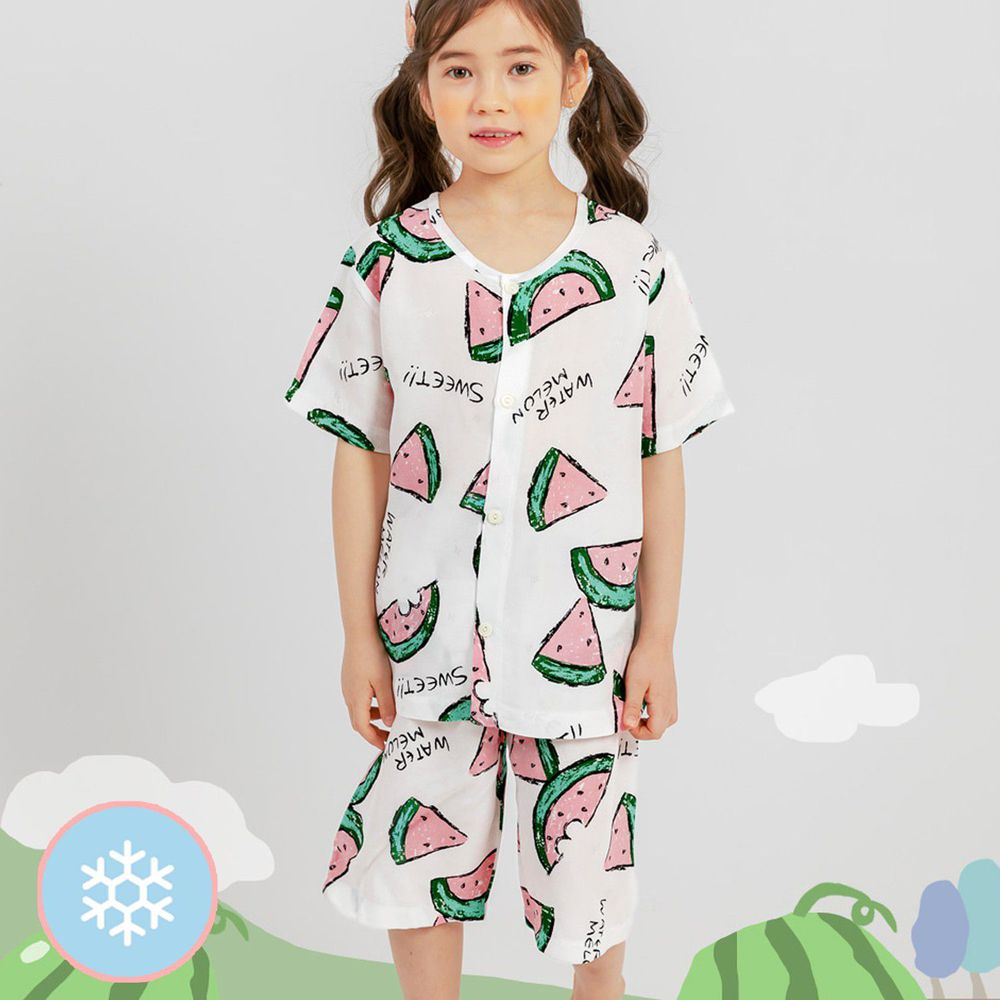 韓國 Mellisse - 韓製涼感嫘縈短袖睡衣/家居服-清涼西瓜