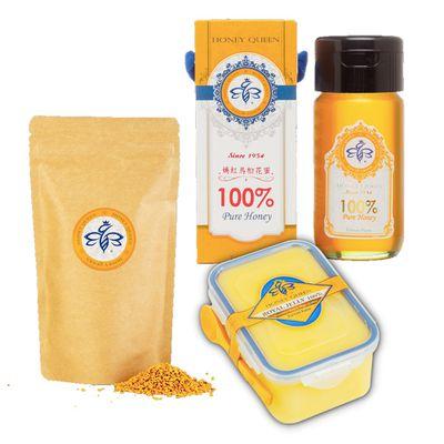 【豪華養生組】嫣紅烏桕花蜜700g+莊園黃金花粉-袋裝200g+特級生鮮蜂王乳500g