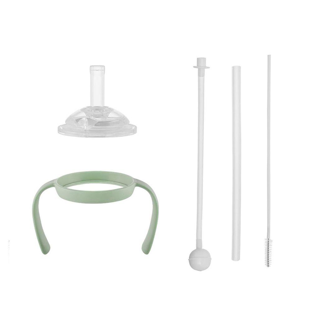 韓國 Moyuum - PPSU All in One 寬口奶瓶 吸管水杯套件組-綠色 (吸管杯轉接頭+直飲式吸管+重力球吸管+手把+吸管刷)