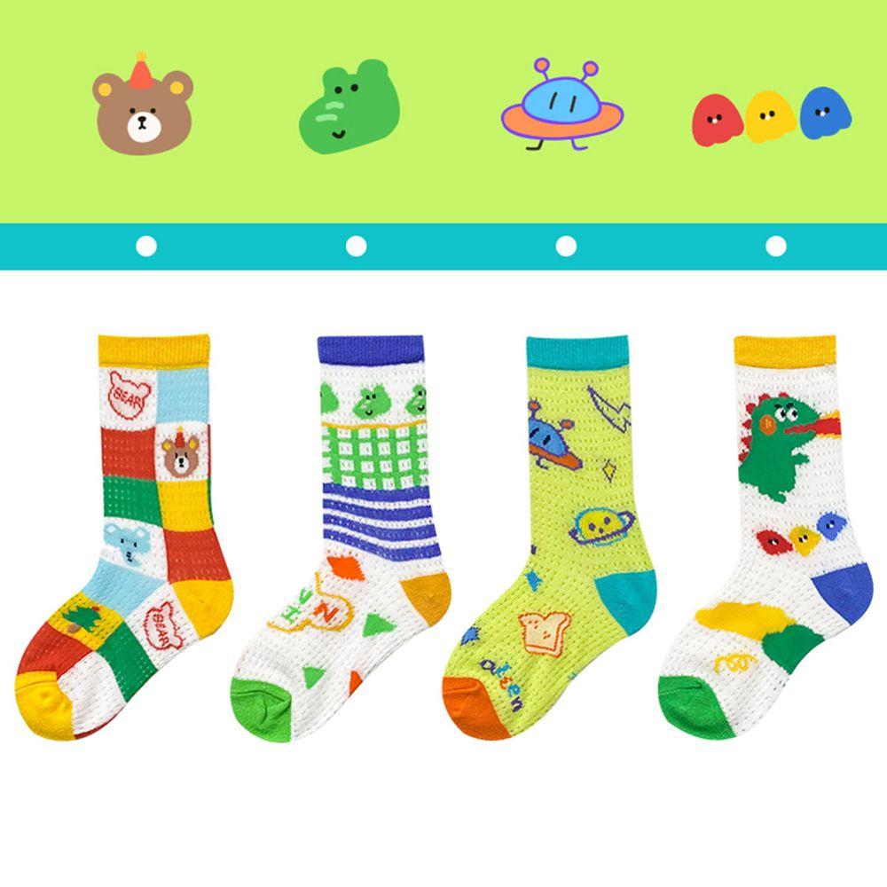 卡通插圖風網眼中筒襪(4雙一組)-D組合