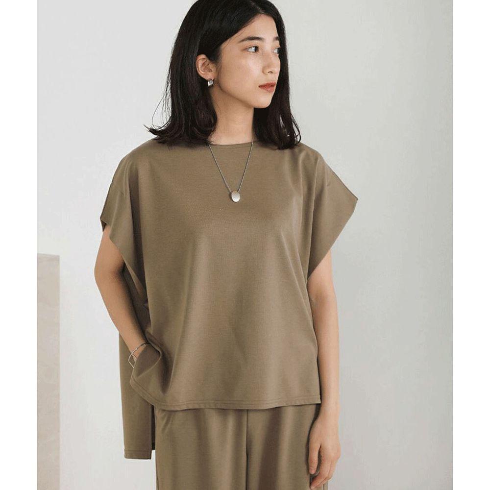日本 Bou Jeloud - 撥水加工 修身寬版短袖上衣-摩卡