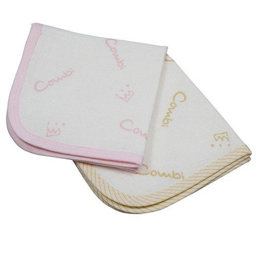 日本 Combi - 經典六層紗小方巾(2入裝)-粉+褐
