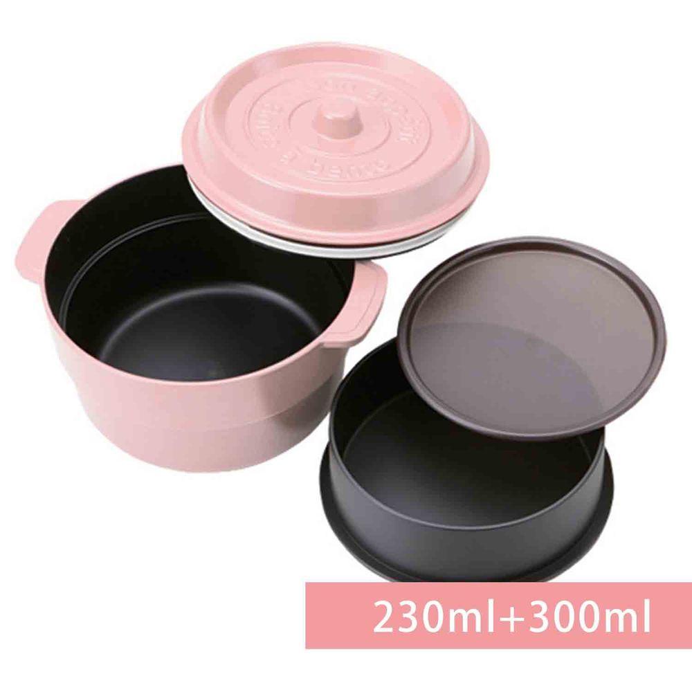 日本 TAKENAKA - 日本製鑄鐵鍋造型便當盒/保鮮盒-兩段式-櫻花粉-230ml+300ml