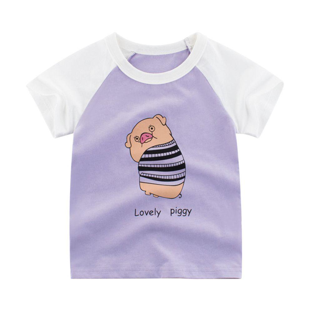 純棉短袖上衣-可愛小豬-淺紫/米白