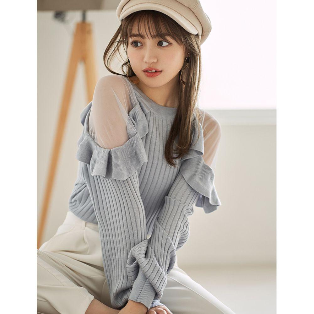 日本 GRL - 薄紗拼接浪漫荷葉長袖上衣-霧藍