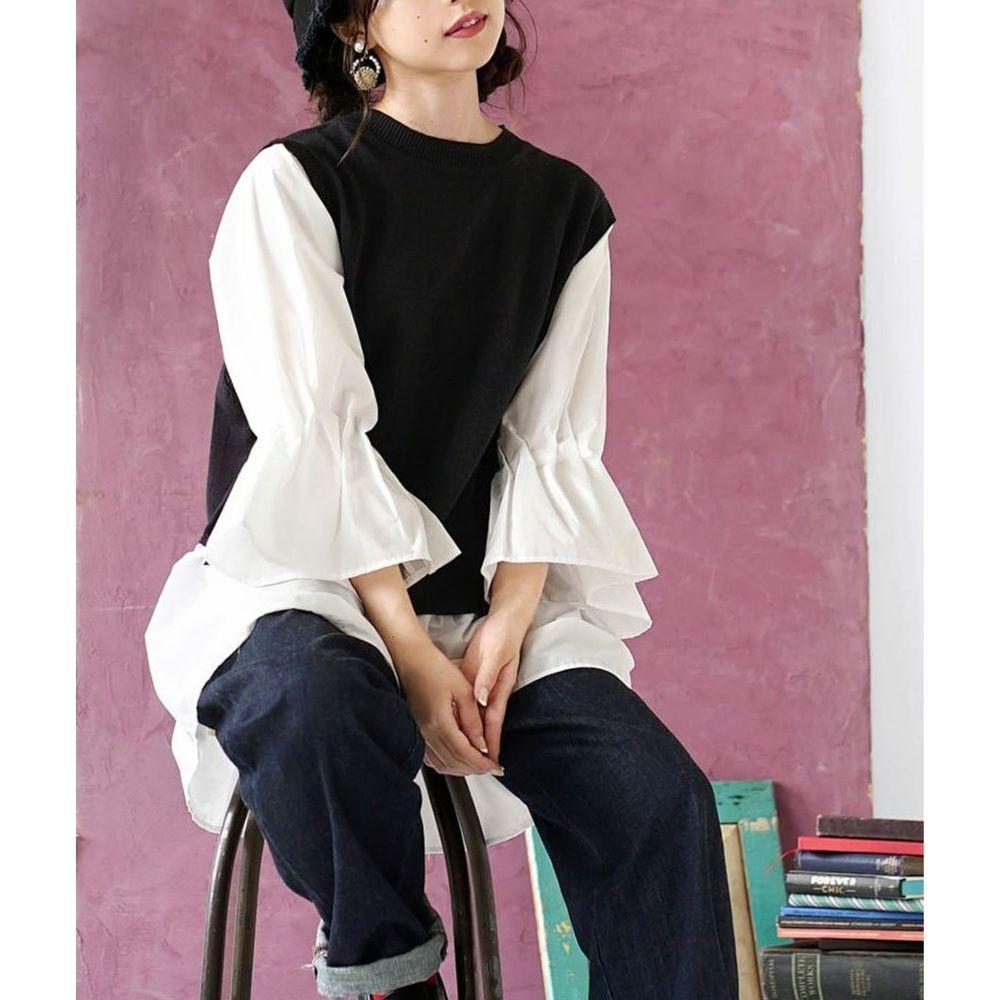 日本 zootie - 異材質拼接針織X棉質七分袖上衣-黑