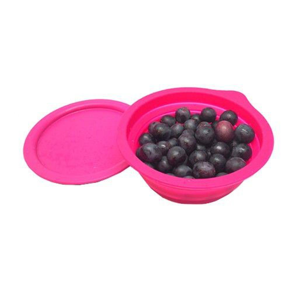 Lexngo - 矽膠摺疊水果盤連砧板-紫紅-20x20X8cm / 摺疊高 3.5cm
