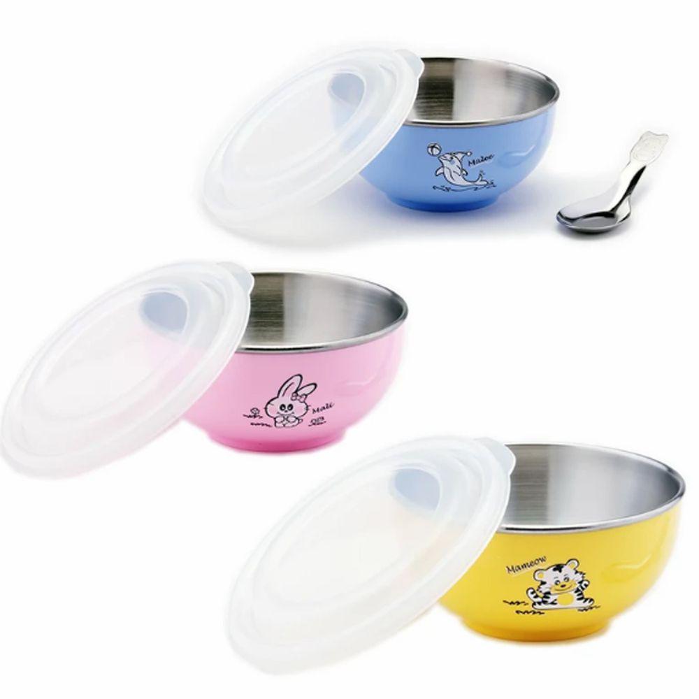 ZEBRA 斑馬 - 幼兒園最愛組: 三色兒童隔熱碗(附湯匙)-圖案款-藍+粉+黃 (11CM)-250CC*3