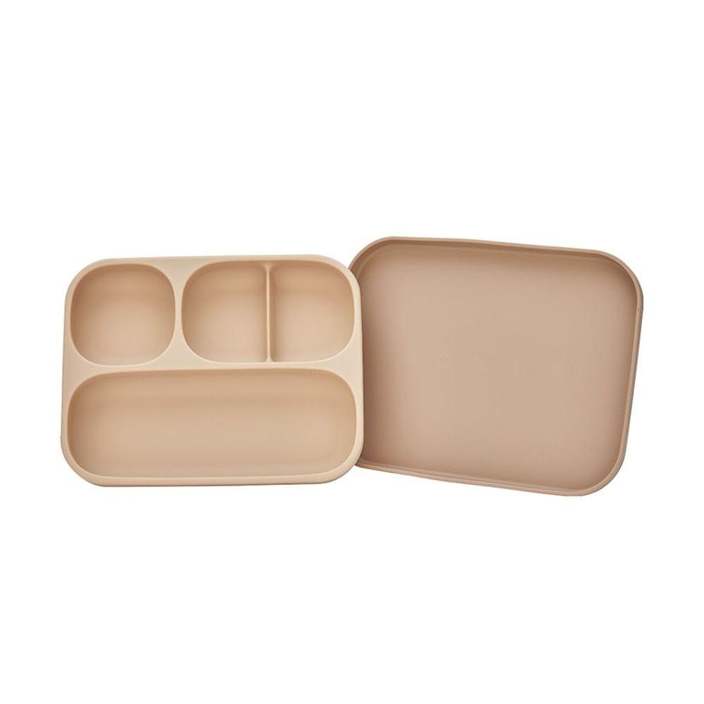 韓國 Moyuum - 白金矽膠吸盤式餐盤盒-珊瑚粉