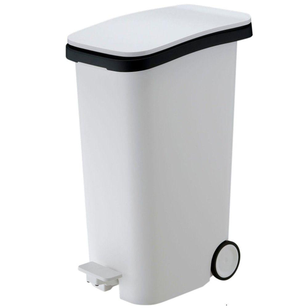 日本RISH - Smooth|踩踏式緩衝靜音垃圾桶-白色-31L