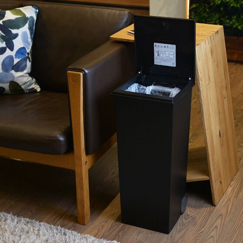 日本岩谷Iwatani - 日本製方形可分類手壓彈蓋式垃圾桶(附輪)-24L-黑