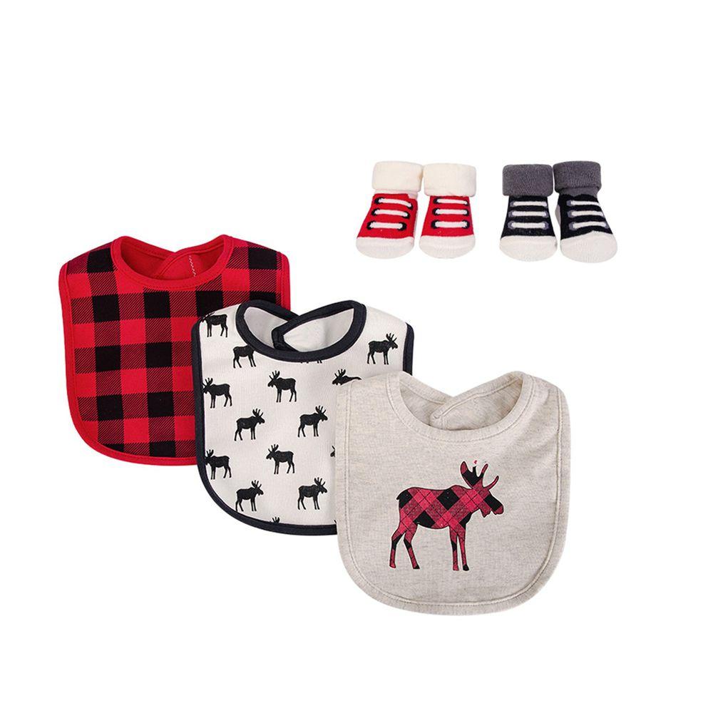 美國 Luvable Friends - 嬰幼兒雙層吸水口水巾圍兜與短襪組-紅色麋鹿