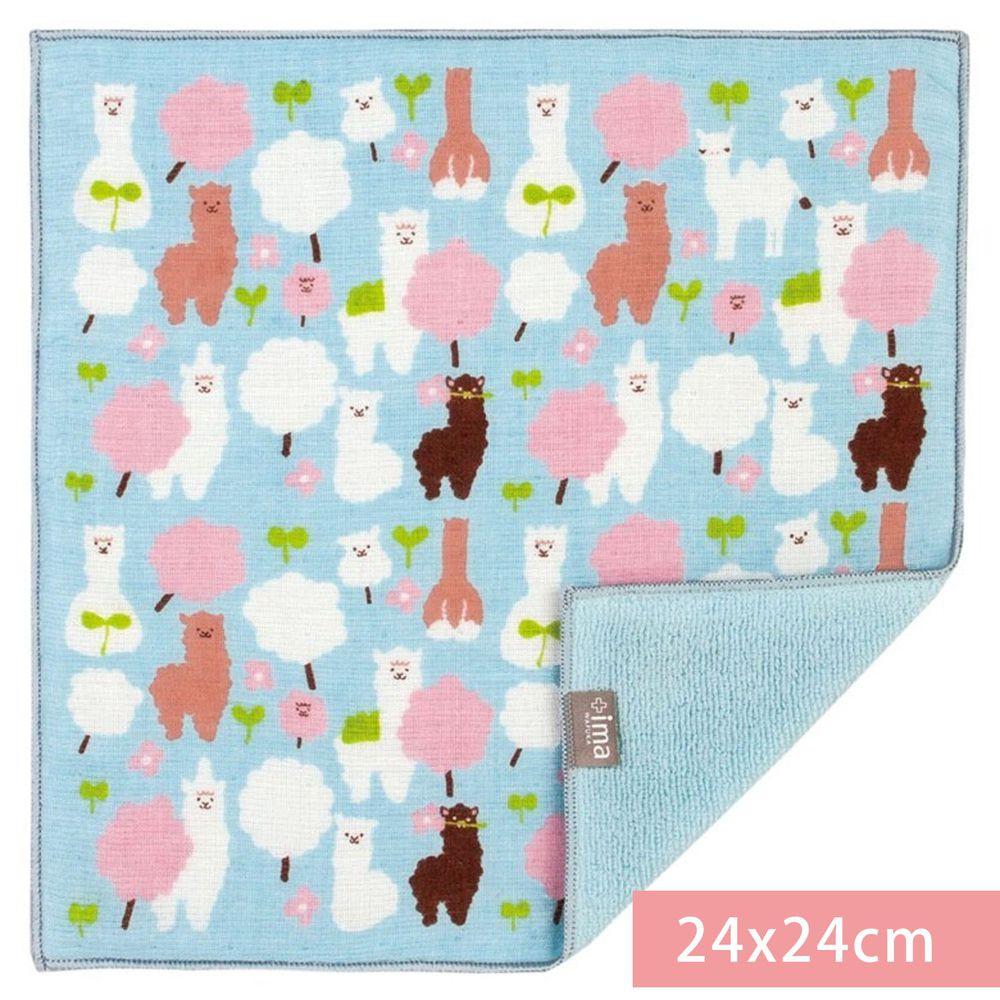 日本代購 - 【ima+】日本製今治純棉手帕-羊駝棉花糖-水藍 (24x24cm)