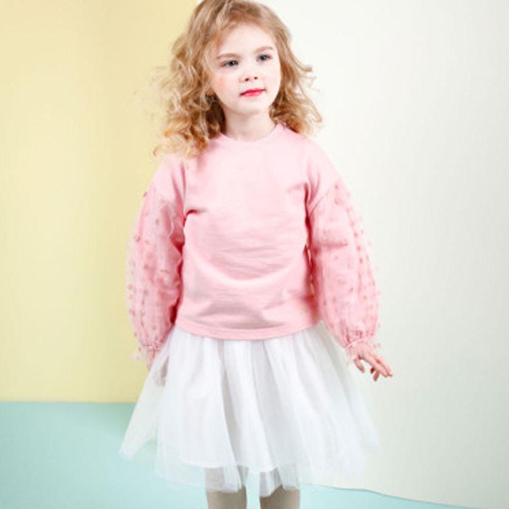韓國 Jelispoon - (2件式)網紗點點泡泡袖套裝