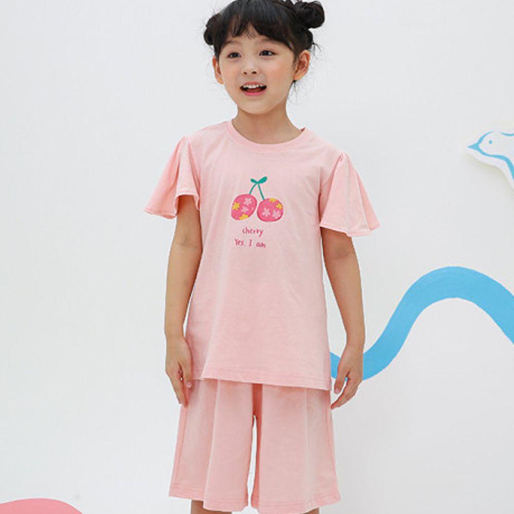 韓國 Ppippilong - 無螢光棉舒適寬版套裝-花花櫻桃