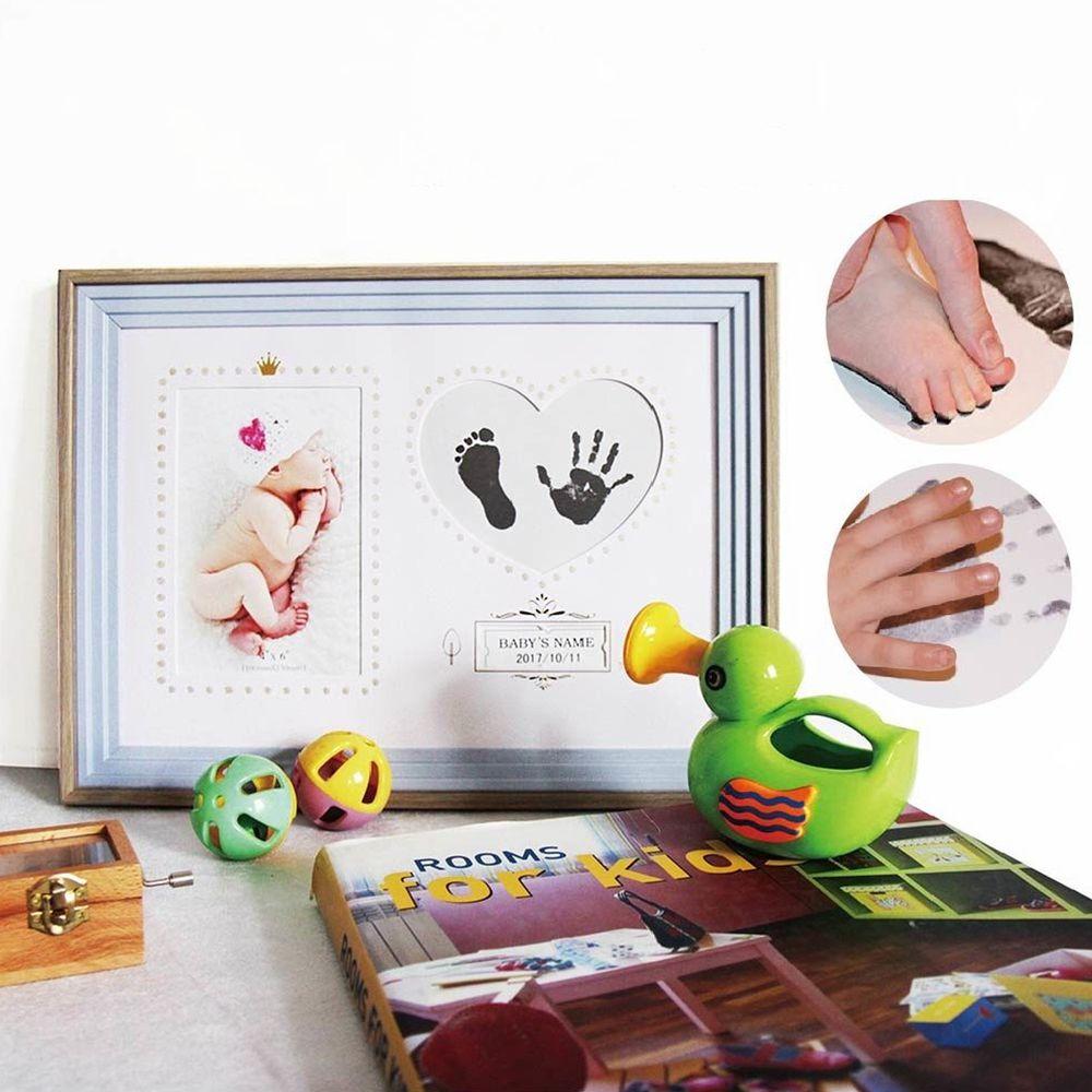 Tromso - 新生兒寶貝泥拓手腳印橫式紀念相框-橫式粉藍