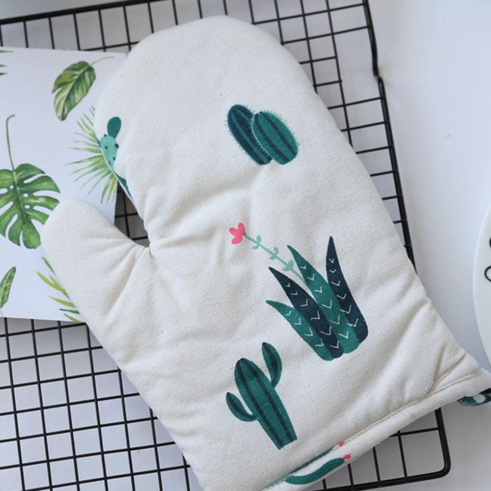 清新植物造型隔熱手套-白色手套綠色仙人掌-單入