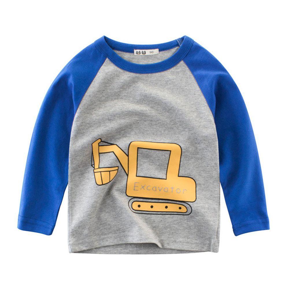 純棉長袖T恤-藍色怪手