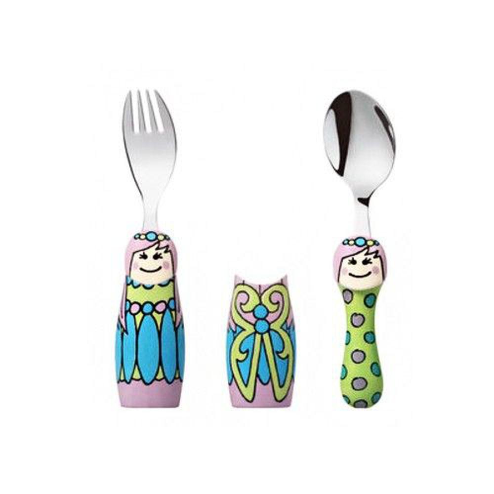 EAT4FUN - 316不鏽鋼餐具DUO兩人組-童話公主-一叉+一匙