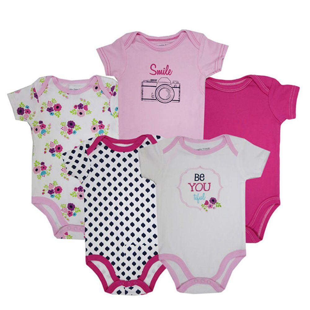 美國 Luvable Friends - 100%純棉嬰幼兒短袖包屁衣5件組-黑白方塊