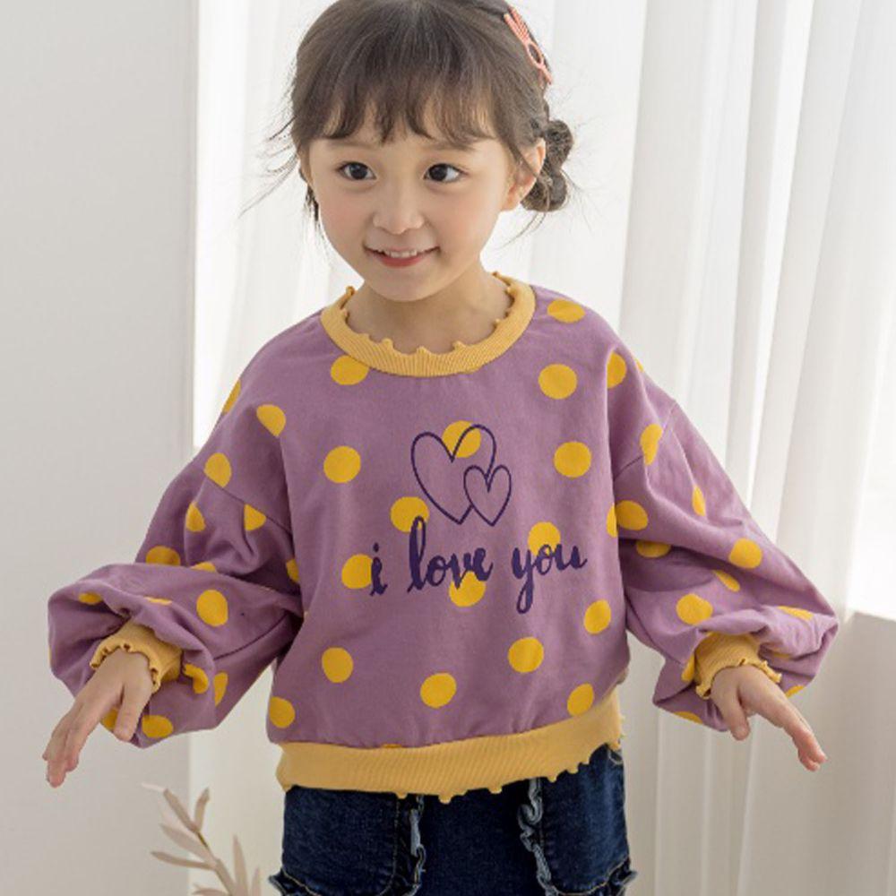 韓國 Orange Mom - 波點泡泡袖T-紫