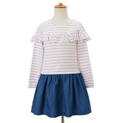 女孩條紋休閒洋裝-淺藍色x紫條紋