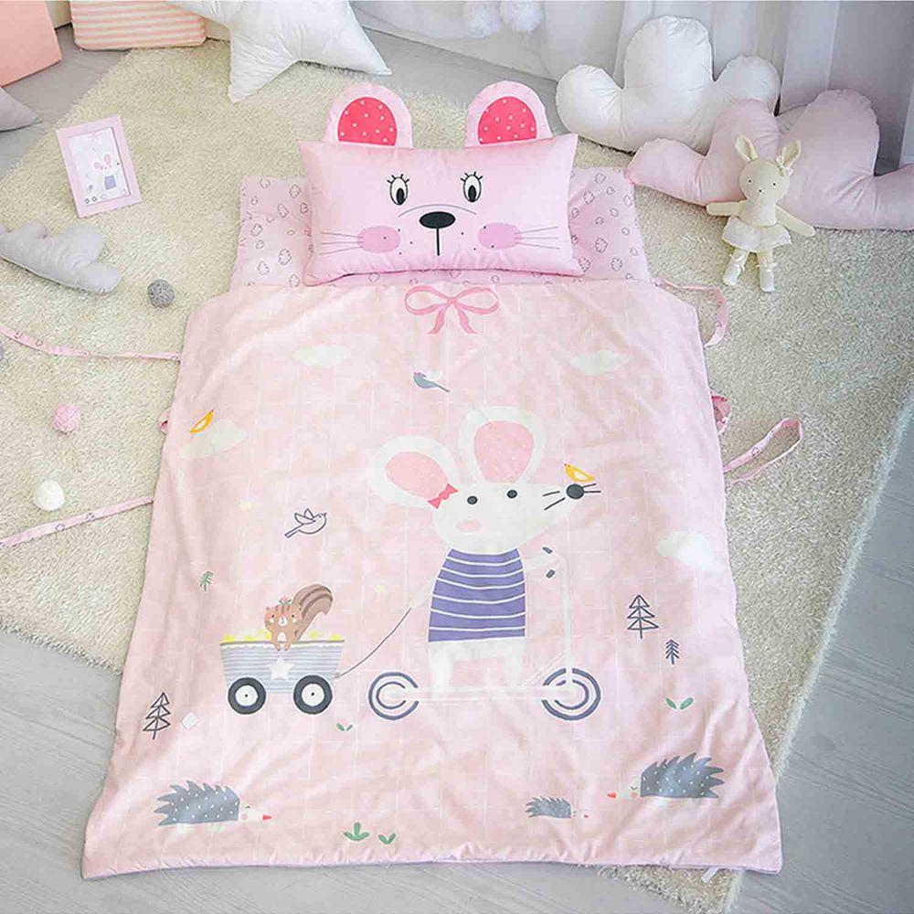 韓國 Teepee - 四季用分離型兒童寢具(無拉鏈)-60支棉-粉紅小鼠-睡墊厚約4~5cm