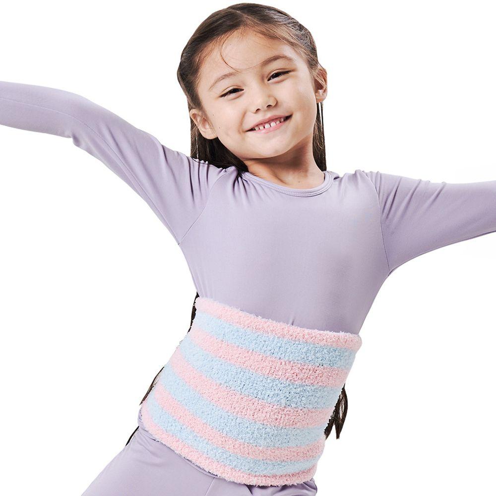 GIAT - 超細棉柔萊卡彈力保暖肚圍(小段)-粉藍條紋
