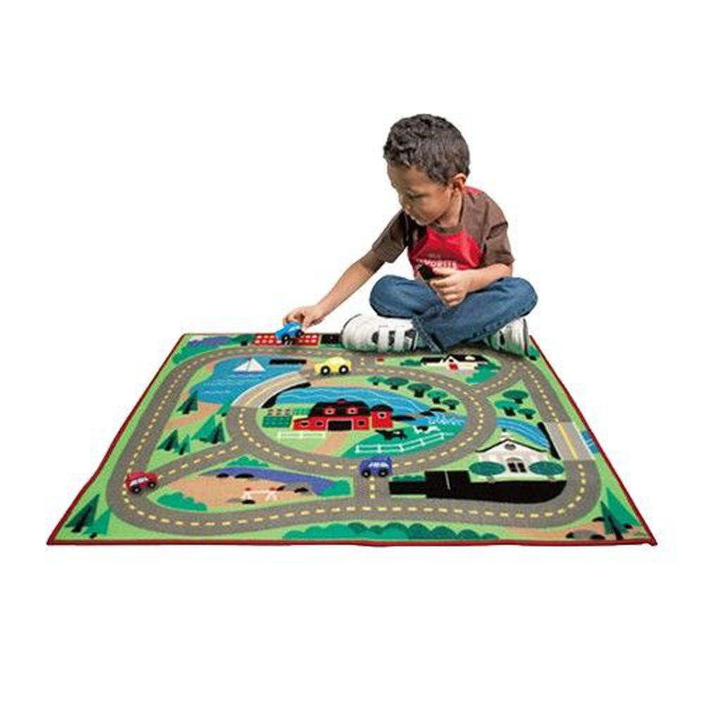 美國瑪莉莎 Melissa & Doug - MD 交通遊戲-地墊,環繞社區 (100cmX91cm)-內含玩具車x4