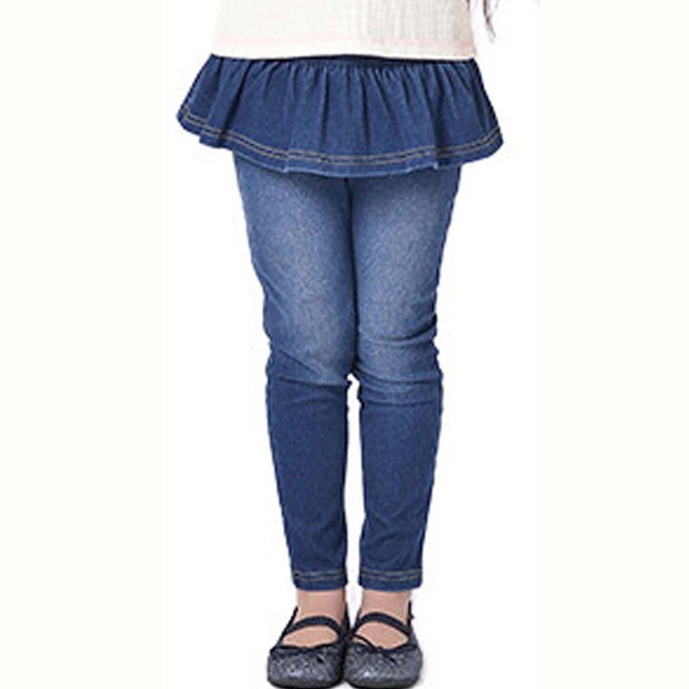 日本 TORIDORY - 百搭牛仔褲-荷葉小裙-深藍