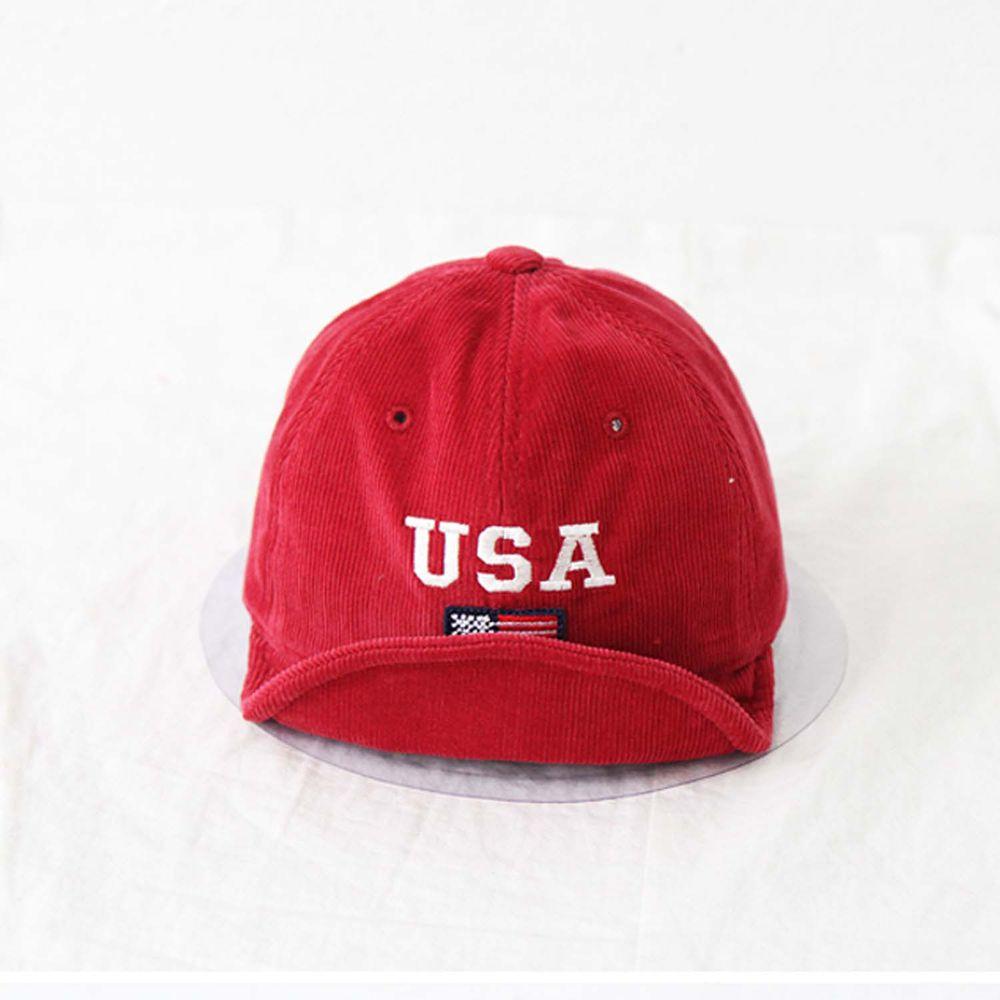 韓國 Babyblee - USA燈芯絨棒球帽-紅 (FREE)
