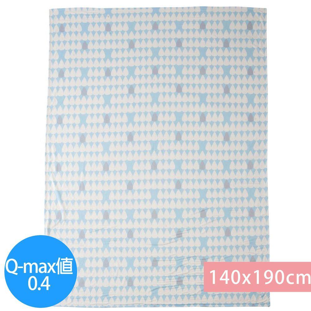 日本小泉 - 節電對策冷感薄毯-雨點-水藍 (140x190cm)