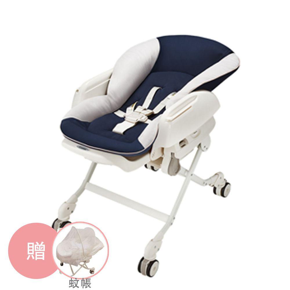 日本 Combi - 安撫餐椅搖床-Letto ST [手動款]-星河藍-居家實用組 - 贈蚊帳